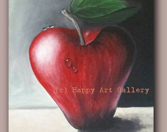 Red Apple- Still life painting kitchen wall art kitchen decor contemporary modern kitchen wall decor kitchen art  still life oil painting