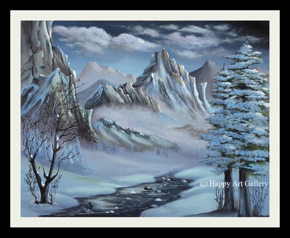 The Valley Winter Decor Landscape Painting Landscape Wall Art Nature Painting Original Art Oil Painting Winter Landscape Mountain Painting