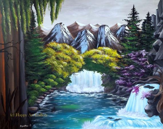 Crystal Falls Wasserfall Malerei Wasserfall Wand Kunst Wasserfall Leinwand Buro Malerei Grosse Gemalde Landschaft Natur Malerei