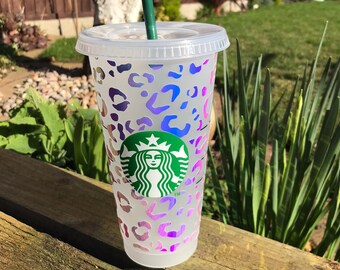 Decorated Starbucks Cold Cup -24oz Leopard Print - Holographic Vinyl - Customised