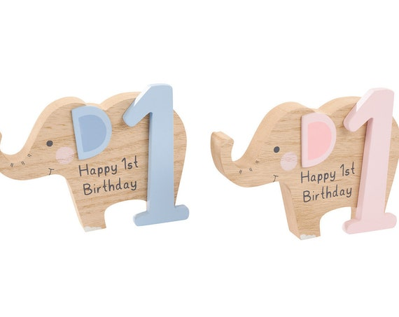 Elephant 1st Birthday Block with 3D embellishments - Perfect for Personalisation - Pink and Blue
