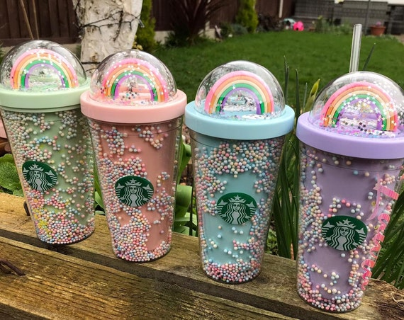 Personalised 16OZ Starbucks Starlight Cup Rainbow Cup with clear straw - Double layer cup - Hot and Cold - 4 Colour Options
