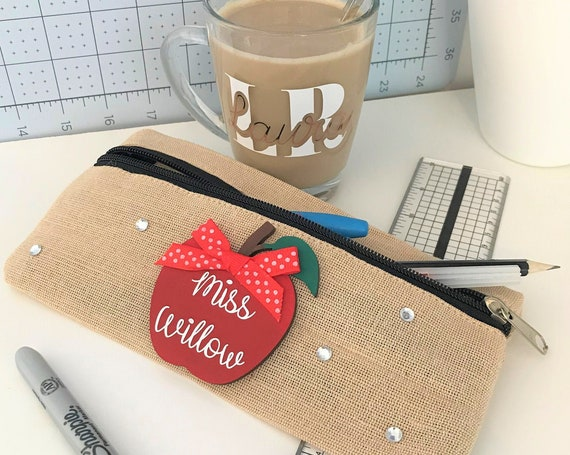 Personalised  Apple Teacher, Nursery, Teaching Assistant Thank You Gift. Pencil Case, Notebook, Pen Holder