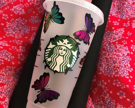 Decorated Starbucks Cold Cup -24oz Holography Butterfly - personalised - Customised