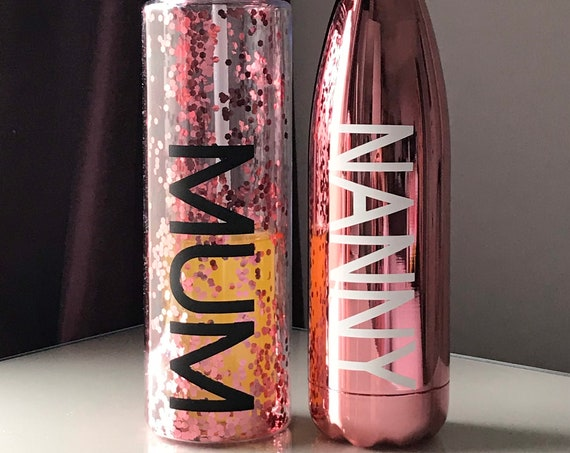 Personalised Rose Gold Confetti Double Walled Water Drink Bottle - 500ml