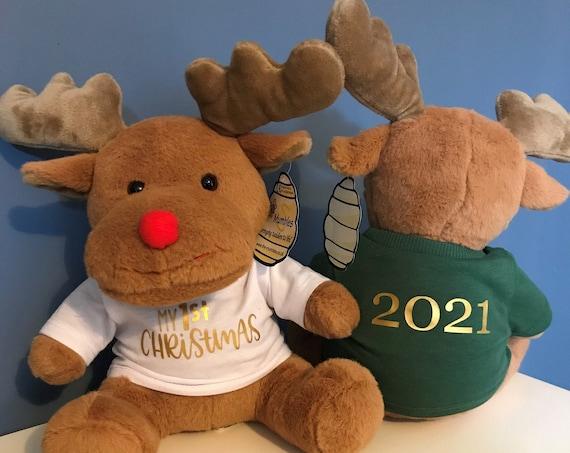 Personalised Christmas Reindeer - Dark Brown - My 1st Christmas, Merry Christmas, 1st Christmas Mumbles