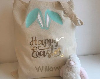 Personalised Easter Egg Hunt, Easter Bunny Bag - Bag 100% Recycled Cotton!