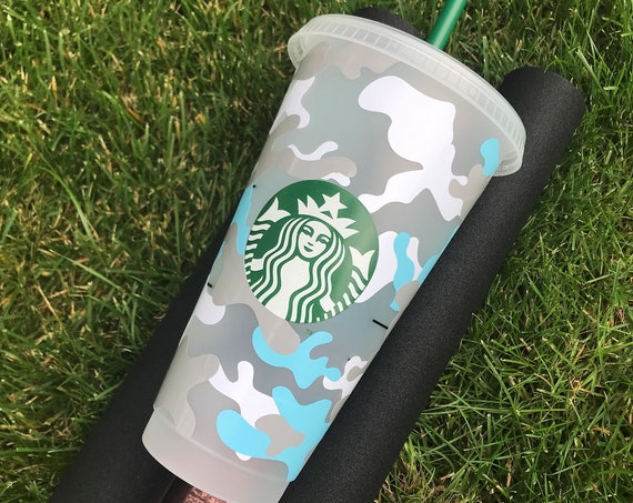 Decorated Starbucks Cold Cup -24oz - Camouflage Camo Army Print