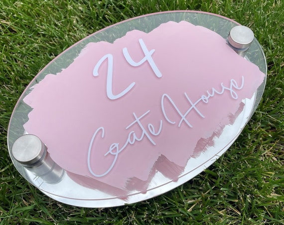Personalised House Number Sign, Chrome Silver personalised address plaque - Choice of Colours