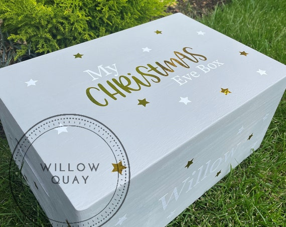 Hand Painted Personalised Wooden Christmas Eve Crate / Box - Lidded - Hinged