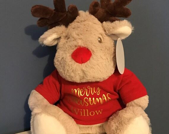 Personalised Christmas Reindeer - Light Brown - My 1st Christmas, Merry Christmas, 1st Christmas Mumbles
