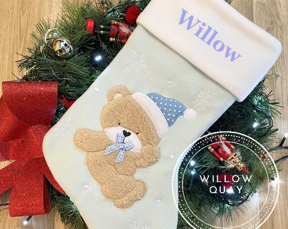 Personalised Deluxe Plush Christmas Stocking - Santa, Reindeer, Bear, First Christmas, Modern, Traditional, 3D  - Grey. Pink , Blue