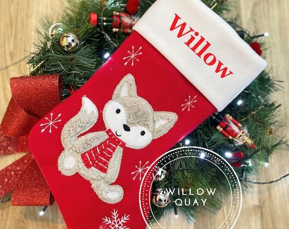 Personalised Christmas Stocking - Santa, Reindeer, Bear, Fox Rustic, Modern, Traditional, 3D