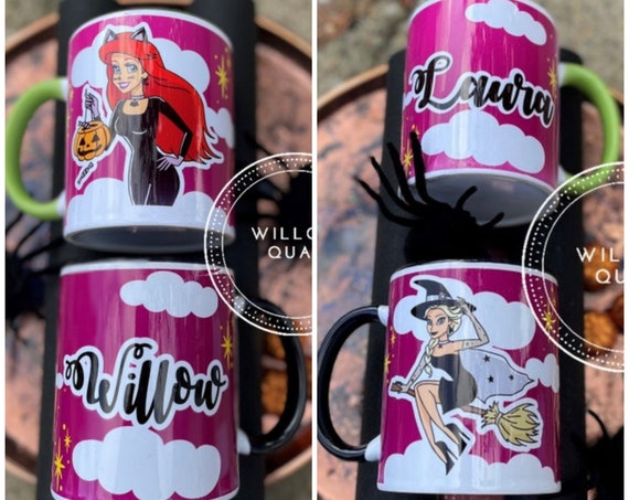 Personalised Halloween Princess Mug - Witch, Ghost, Poison Apple, Broom, Gothic