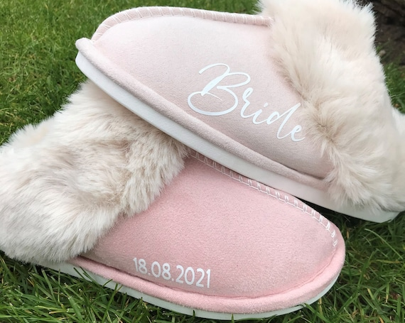 Personalized Bridal Slipper Womans Slipper Memory Foam Fluffy Soft Warm Slip On Slippers,Anti-Skid Cozy Plush for Indoor Outdoor