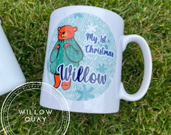 Personalised Christmas Bear Mugs - 1st Christmas, Ceramic Mug, Enamel Mug