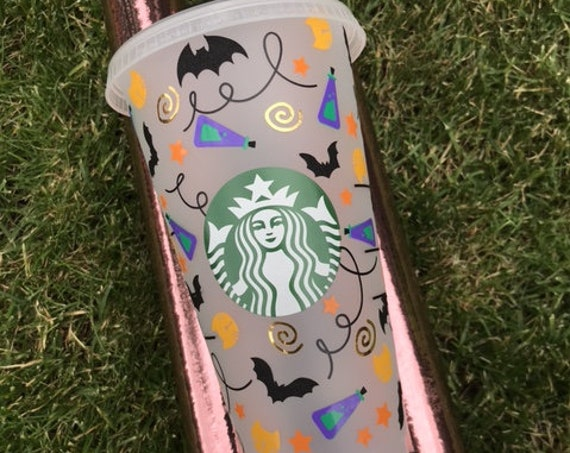 Decorated Starbucks Cold Cup -24oz - Halloween Inspired Cup - Hocus Pocus , Potion, Cats, Witch, Bats