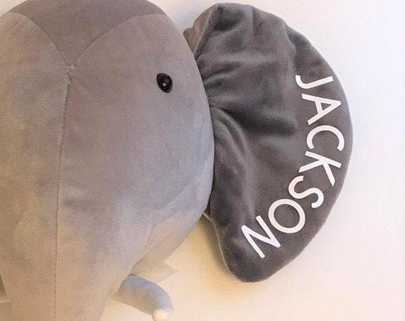 Personalised Velvety Plush Elephant Head - Nursery, Play Room, Childrens' Decor