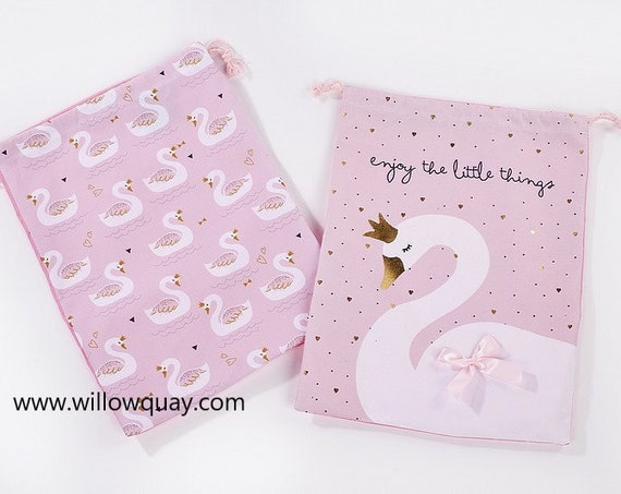 Personalised Swan Drawstring Bag - Great for School, Nursery, Shoes, Toys, Swimming and Laundry