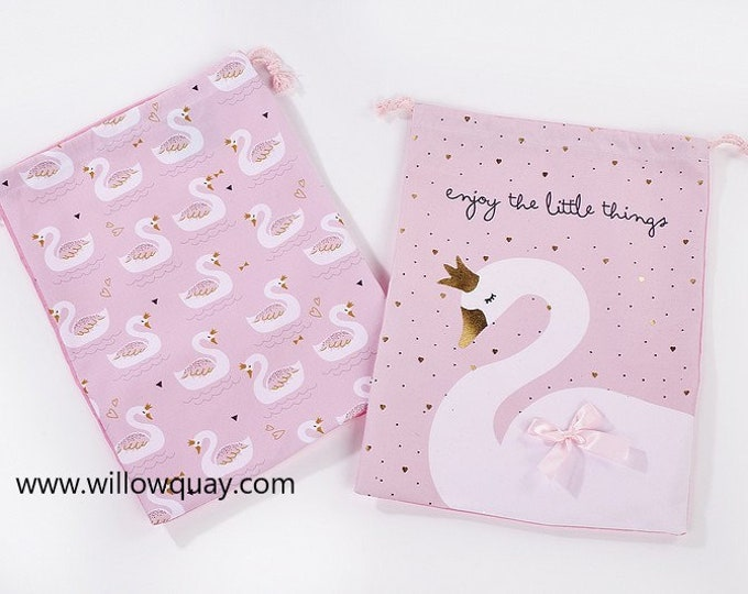 Swan Laundry Bag - Great for Nursery, Shoes, Toys and Laundry