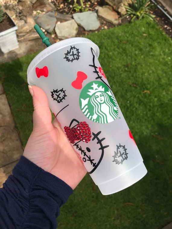 Decorated Starbucks Cold Cup -24oz - Halloween Hello Kitty with crystal embellished bows - Witch , Zombie, Gothic