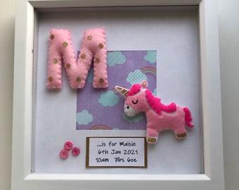 Personalised Unicorn Box Frame, Personalised Gift, Nursery Decor, Baby Gift, New Baby Gift, Christening Gift, Rainbow Baby Gift