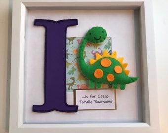Personalised Dinosaur Box Frame, Personalised Gift, Nursery Decor, Baby Gift, Birthday Gift, Christening Gift, Rainbow Baby Gift