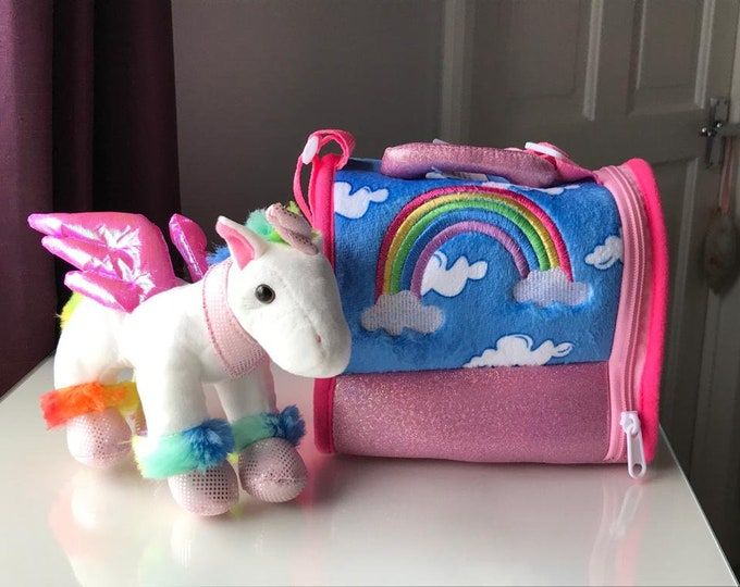 Glitter Rainbow Unicorn and Carrier - Perfect for Personalisation