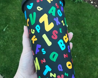 Alphabet Decorated Double Walled hot and cold Tumbler- -22oz Perfect teacher, nursery gift Customised