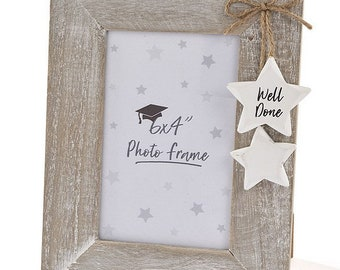 Rustic Well Done Photo Frame - with 2 hanging stars- 6 x 4 Aperture - Perfect for Personalisation