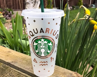Zodiac Decorated Starbucks Cold Cup -24oz- Metallic Vinyl - Customised