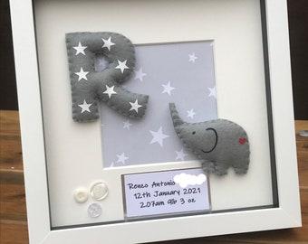 Personalised Elephant and Stars Box Frame, Personalised Gift, Nursery Decor, New Baby Gift, Christening Gift, Rainbow Baby Gift