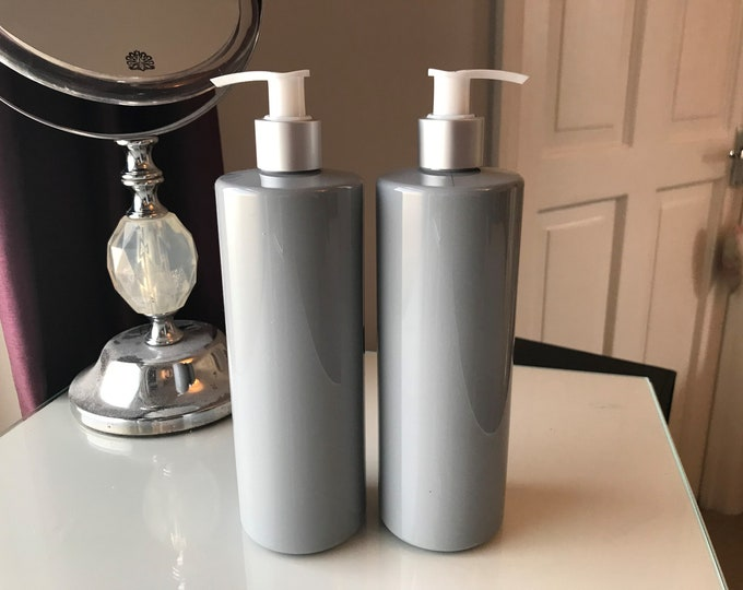 Grey Bottles with Matt Silver/white pumps - 250ml and 500ml