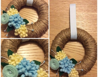 Handmade Felt flower and twine wreath - blue and yellow colour