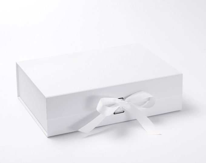 A4 Deep Gift Boxes with grosgrain ribbon - 33cm x 25cm x 11cm
