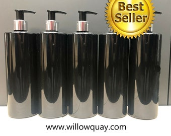 Wholesale - 500ml Gloss Black Cylinder Bottle with Chrome/Black Lotion Pump- Mrs Hinch Inspired Blank