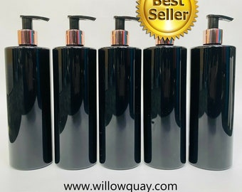 Wholesale - 500ml Gloss Black Cylinder Bottle with Rose Gold Lotion Pump- Mrs Hinch Inspired Blank