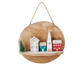 3D Christmas Village Plaque - Perfect for Personalisation