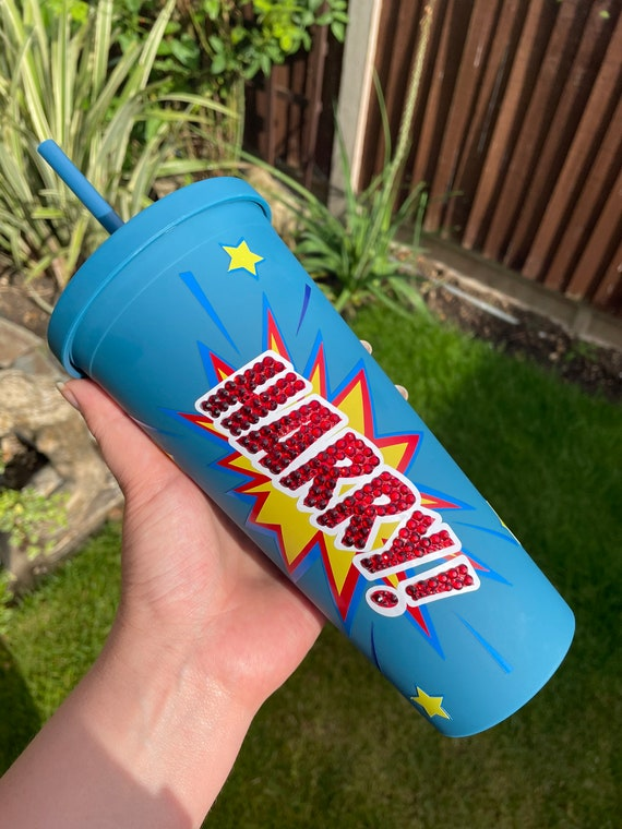 Superhero Decorated Double Walled hot and cold Tumbler-22oz Bling Gems, Customised