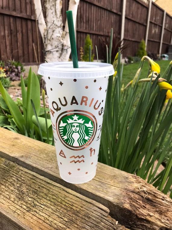 Zodiac Decorated Starbucks Cold Cup -24oz- Metallic Vinyl - Customised
