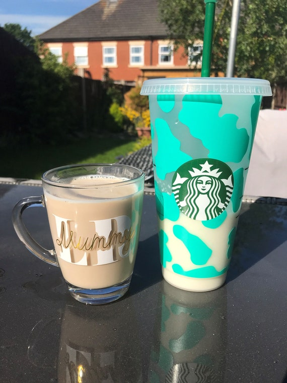 Cup and Mug Duo - Personalised Initial Mug AND a Decorated Cold Cup - FREE POSTAGE! Starbucks, Glass Mug, Coffee , Tea, Protein Shake