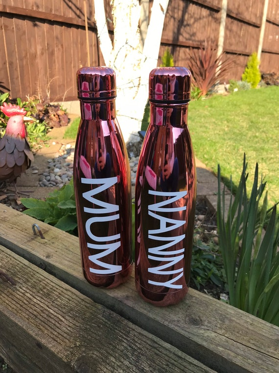 Personalised Rose Gold Double Walled Water bottles - 500ml - Hot and Cold