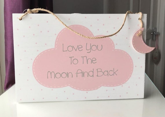 Large A4 Love you to the Moon and Back Sign - Baby, Nursery, Valentine, Mothers Day