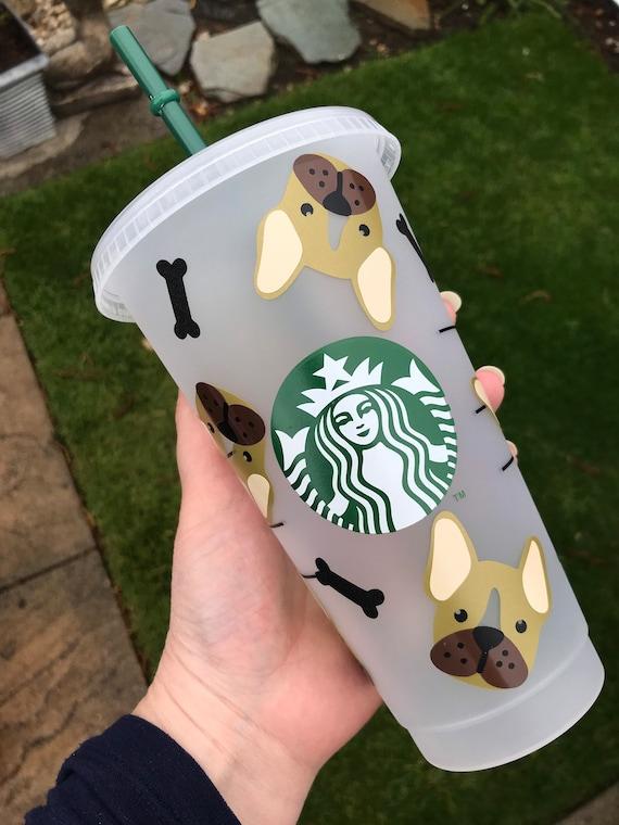 Decorated Starbucks Cold Cup -24oz - Frenchie Bulldog Design