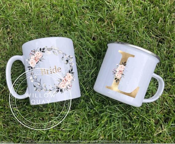 Personalised Wedding Initial Mugs - Bride, Bridal, Bridesmaid, Wreath Ceramic Mug, Enamel Mug