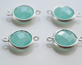 Amazonite faceted stones, bezel set, Connector Link, 17 x 12mm, Matte silver Rhodium plated, 2 pc, jewelry component,Wholesale supply