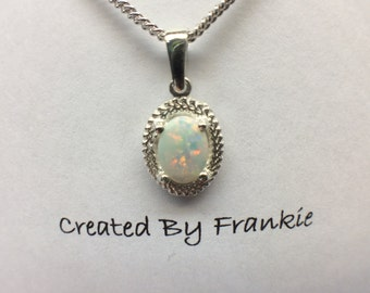 Ladies Sterling Silver Vintage Pendant with 7x5 Natural Opal  # 2860V  Created By Frankie