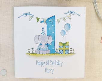 Personalised 1st Birthday Card For A Boy