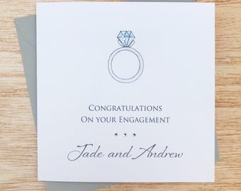 personalised engagement card handmade personalised engagement card personalised congratulations card on your engagement card - Engagement Cards