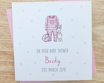 Baby shower card etsy personalised baby shower card handmade personalised baby shower card baby girl baby shower card girl baby shower card m4hsunfo